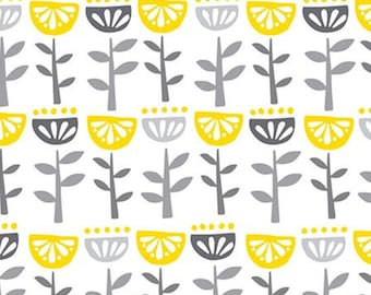 Flower, grey, yellow, white, Village Life, 301801076, Camelot Fabrics, 100% Cotton