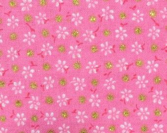 Fabric Dark Pink Floral, Dots Gold, 80526153, Floral Dots, cotton, cotton quilt, cotton designer