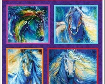 "Panel, Painted Horses, 24""X44"", 06661, col 99, Benartex, 100% Cotton, (Reg 16.50)"