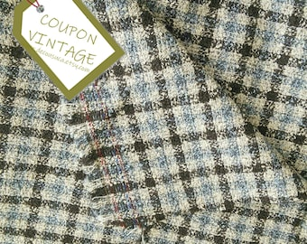 COUPON 200cm X 150cm, Fabric for clothing, Check, brown, beige, blue jeans, 100% polyester, NO stretch, for skirt, scarf