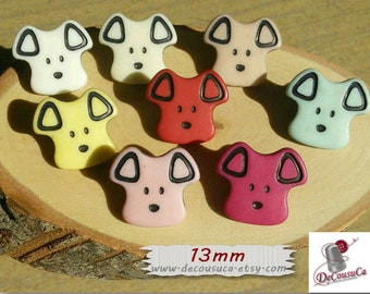 6 Buttons, 13mm, Puppy, dog, vintage, BF04