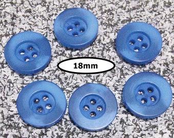 6 Buttons, 18mm, SHADE BLUE,  button 4 holes, BTN 73B