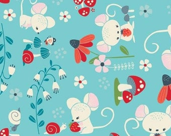 Mouse, mushroom, turquoise background, 61190301, col 01, Enchanted Forest, Camelot Fabrics, 100% Cotton