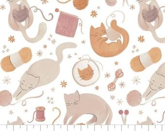 Fabric Smitten Kitten, 100% coton, #66200501, WHITE - Smitten Kitten de Camelot Fabrics