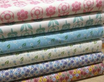 SALE, Bundle, 6 prints, Flowers, Momandfabric, Bundle, 1 of each print, quilt cotton, (Reg 22.55-116.94)