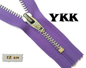 YKK, 12cm, Violet, Zipper, Cursor 5, 4 3/4 Inch, Metal, Zipper, Non-Detachable, vintage, 1980, Z16
