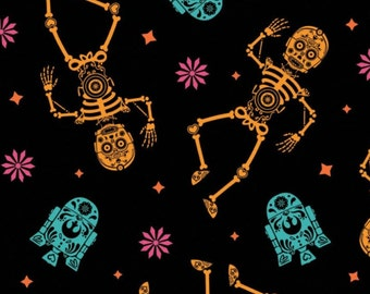 Fabric Halloween, Tossed Sugar Droids, #73010978 - Character Halloween of Camelot Fabrics