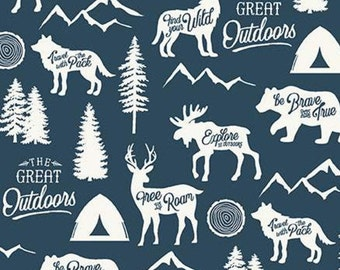 Fabric animals, NAVY, #10720, Adventure is Calling, Riley Blake, fabric, cotton, quilt cotton