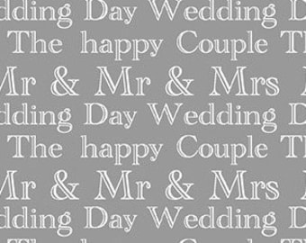 Metallic silver, gray, Wedding Day, I Thee Wed, Kanvas, Benartex, 8754, 100% Cotton