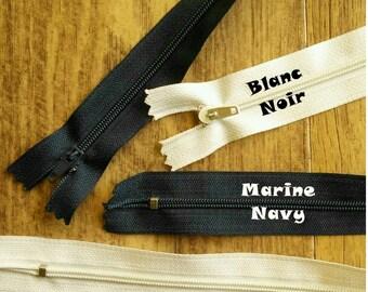 1 Zipper, Non-Separable, Navy, White, Slider # 3, Nylon, Clutch, Garment, Z50