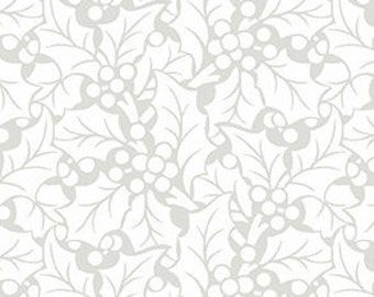 SALE, Fabric, Cotton, Leaves, white, Winter Rose, 9423, Andover, (Reg 3.76-21.91)