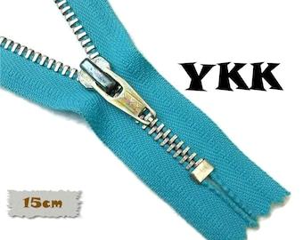 YKK, 15cm, Turquoise, Zipper, Cursor V, 6 Inch, Metal, Zipper, Non-Detachable, vintage, 1980, Z16