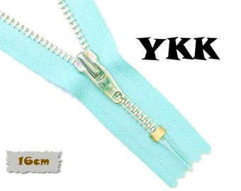 YKK, 16cm, Light turquoise, Zipper, Cursor V, 6 Inch, Metal, Zipper, Non-Detachable, vintage, 1980, Z16