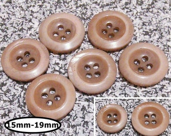 6 buttons, 15mm and 19mm, SHADE BEIGE, button 4 holes,