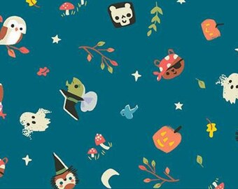 Halloween Fabric- Halloween, TEAL, Tiny Treaters, 10481, Riley Blake, fabric, cotton, quilt cotton