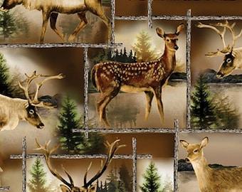 Scenic deer, Lodge Life, 8969, col 77, Benartex, cotton, cotton quilt, cotton designer