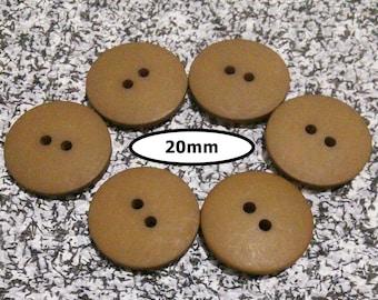6 Buttons, 20mm, LIGHT BROWN, button 2 holes,