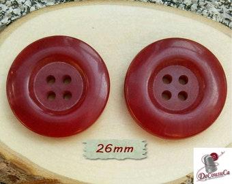 2 Buttons, 26mm, 4 holes, bourgogne, decorative, Vintage, caséine, lucite, 1980, GR07