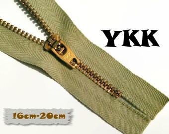YKK, 16cm-20cm, Zipper, Cursor 45, Light Green, Metal, Zipper, Non-Detachable, vintage, 1980, Z07,0