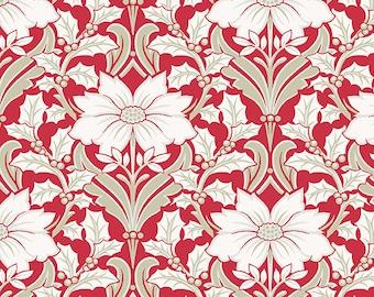 SALE, Fabric, Cotton, Poinsettia, red, Winter Rose, 9419, Andover, (Reg 3.76-21.91)