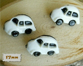 3 Buttons, Char, White, 17mm, Fancy Button, BF51, Fancy Button, 1980, Vintage, Casein