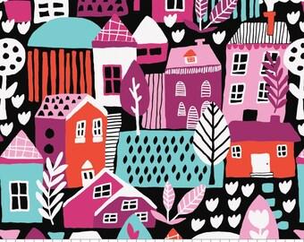 SALE, Neighbourhood in Black, 31170101, col 03, Neighbourhood, Camelot Fabrics, 100% Cotton, (Reg 3.76-21.91)