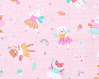 Rabbit, fox, bear cub, pink background, 1387, Dear Stella, cotton, cotton quilt, cotton designer