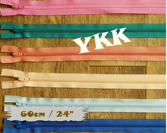 YKK, 60cm, 1 zipper, #3, (24 inchs), vintage, 1980, varied color, nylon, perfect for clothing, repair, creation, Z60