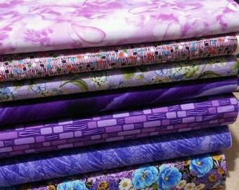 SALE, Bundle of 7 prints, Violet, Quilt Cotton, 1 of each print, (Reg 26.53-136.43)