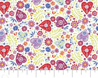 Fabric hearts, 100% coton, #30200403, WHITE - Eternally Yours of Camelot Fabrics