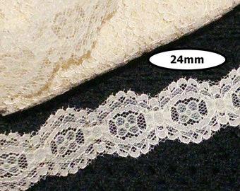 Lace trim vintage, BEIGE, 24mm, vintage lace