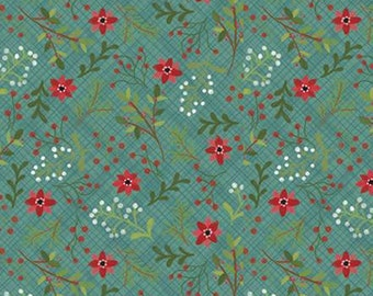 Snowed In, Riley Blake, Christmas fabric 100% cotton, poinsettia, #10812 TEAL