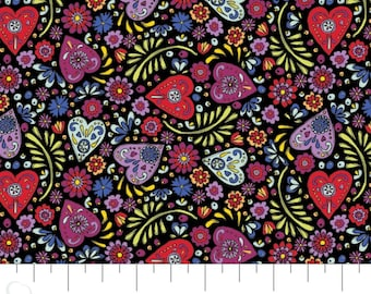 Fabric hearts, 100% coton, #30200403, BLACK - Eternally Yours of Camelot Fabrics
