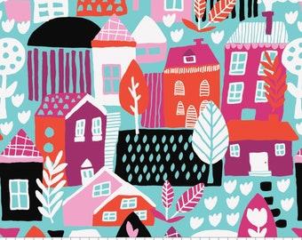 SALE, Neighbourhood in Aqua, 31170101, col 02, Neighbourhood, Camelot Fabrics, 100% Cotton, (Reg 3.76-21.91)