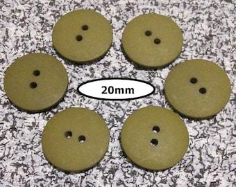 6 Buttons, 20mm, DARK OLIVE GREEN, button 2 holes, Bbt 117B