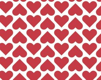 Red heart, white background, XOXO, 21190707, col 01, Camelot Fabrics, cotton, cotton quilt, cotton designer