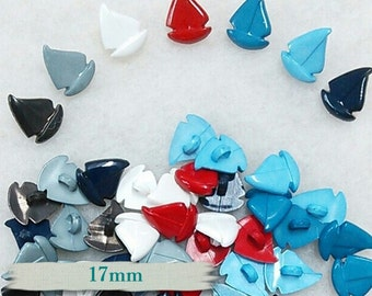 12  Buttons, 17mm, Boat, vintage, BF20