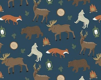 Adventure is Calling of Riley Blake Designs, Fabric animals, NAVY, #10721 , fabric, cotton, quilt cotton