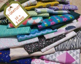Bundle of 15 SURPRISE! Buy 10, get 5 more for free. 100% cotton, Joann, Whidham, Eco Stoff, etc, cotton quilt, cotton designer