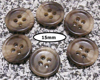 6 buttons, 15 mm, SHADE BEIGE BROWN, button 4 holes, Btn 92
