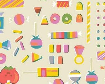 Halloween Fabric- Candy, Halloween, CREAM, Tiny Treaters, 10482, Riley Blake, fabric, cotton, quilt cotton
