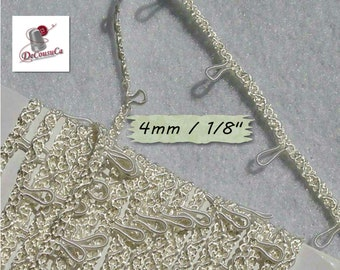 """5 yards, Ivory ribbon, 4mm, (1/4 """"), elastic loupe, every 25mm, (1 inch), RB10"""