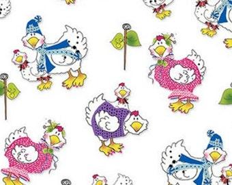 KNITCHICKS, white, 1457-1, by Jody Houghton, Knit Chicks, Henry Glass & Co, 100% Cotton