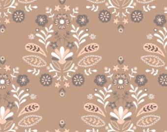 SALE, Camelot Fabrics, Damask, Brown sugar, 2144704-01, multiple quantity cut in one piece, (Reg 3.76-21.91)