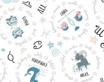 Astrologicals signs, white, 61180301, col 01, Celestial Zodiac, Camelot Fabrics, cotton, cotton quilt, cotton designer