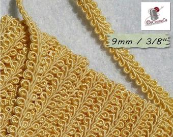 "4 yards, Trim, Ivory, Cracked Ribbon, Ribbon Tapestry, Vintage, 9mm, (3/8 ""), RB12"