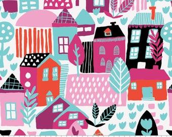 SALE, Neighbourhood in White, 31170101, col 01, Neighbourhood, Camelot Fabrics, 100% Cotton, (Reg 3.76-21.91)