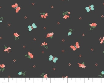 Fabric 100% cotton, Harriet, 7140803, col 05, CHARCOAL - The Notthingham of Laura Ashley, Camelot fabrics