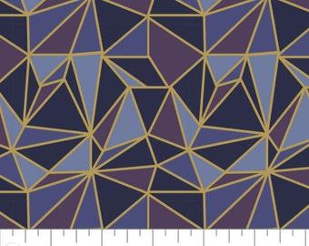 Stars, Metallic gold, navy, violet, purple, Whitten in the stars, 66190501L, col 01, Camelot Fabrics, 100% coton