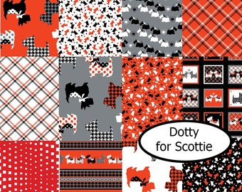Bundle, 12  designs, Dotty for Scottie, Kanvas, Benartex, 100% cotton, (Reg 45.12-233.88)